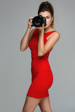 Photographer girl with dslr camera Stock Image