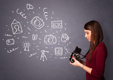 Photographer girl shooting photography icons Royalty Free Stock Photography