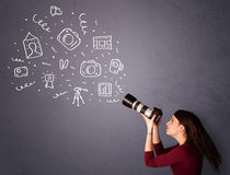 Photographer girl shooting photography icons Royalty Free Stock Images