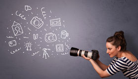 Photographer girl shooting photography icons Stock Photo