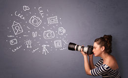 Photographer girl shooting photography icons. Young photographer girl shooting photography icons royalty free stock image