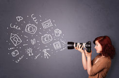 Photographer girl shooting photography icons Stock Photography