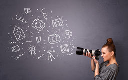 Photographer girl shooting photography icons Royalty Free Stock Photos