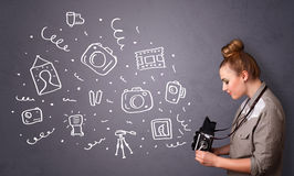 Photographer girl shooting photography icons Royalty Free Stock Photo