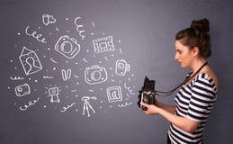 Photographer girl shooting photography icons Royalty Free Stock Photos