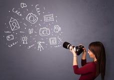 Photographer girl shooting photography icons Stock Photography