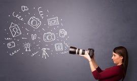 Photographer girl shooting photography icons Royalty Free Stock Photography