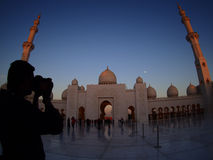 Photographer at grand mosque in Abu dhabi Stock Photo