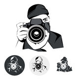 Photographer, graphic stylized drawing, vector illustration Royalty Free Stock Images