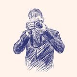 Photographer hand drawn vector Royalty Free Stock Photography