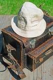 Photographer handbag with wanderer hat. Royalty Free Stock Photo