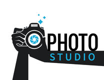 Photographer hands with camera flat illustration for icon or logo template Royalty Free Stock Photography