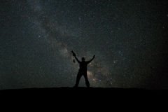 Photographer happy at night skyview Royalty Free Stock Image
