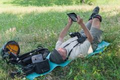 Photographer having rest outdoor Stock Photography