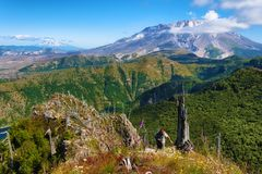 Hiking Castle Peak in Gifford Pinchot National Forest stock photography