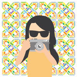 Photographer hipster character cartoon. Vector photographer hipster character cartoon Royalty Free Stock Photo