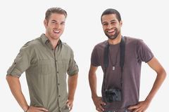 Photographer and his friend smiling at camera Royalty Free Stock Image