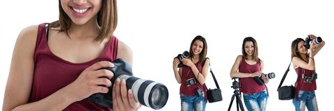 Photographer holding the camera collage Royalty Free Stock Image