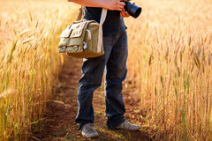 Photographer holding camera on wheat fields in warm sunset. Chiang mai , Thailand Royalty Free Stock Photos