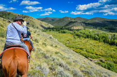 Photographer on a Horse - Medicine Bow National Forest - Wyoming Stock Photo