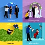 Photographer Icons Set. With interview wedding photo paparazzi and photosession symbols flat  vector illustration Stock Photo
