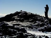 Photographer on Icy Peak 09 (Silhouette) Stock Photos
