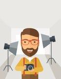 Photographer inside his studio Royalty Free Stock Photography