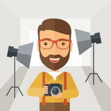 Photographer inside his studio Royalty Free Stock Images
