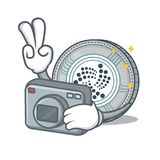 Photographer IOTA coin character cartoon Royalty Free Stock Photo