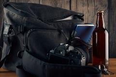 Photographer items on a wooden table Stock Photos