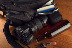 Photographer items on a wooden table Royalty Free Stock Images