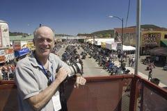 Photographer Joe Sohm. Posing on Main Street with overview of 67th Annual Sturgis Motorcycle Rally, Sturgis, South Dakota, August 6-12, 2007 Stock Photos
