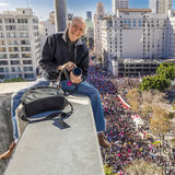Photographer Joe Sohm photographs 750,000 marchers from 10  story building during Women's March, January 21, Los Angeles, CA Stock Photos