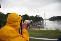 Photographer Joseph Sohm. With Canon zoom lens takes pictures at Martin Luther King 50th Anniversary of I Have A Dream Speech Stock Image