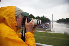 Photographer Joseph Sohm. With Canon zoom lens takes pictures at Martin Luther King 50th Anniversary of I Have A Dream Speech Royalty Free Stock Photos