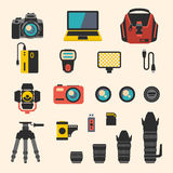 Photographer kit with camera elements. Vector flat Royalty Free Stock Images