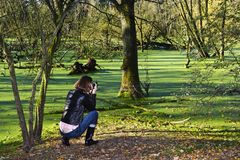 Photographer at the lake in the forest Stock Photo