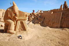 Photographer large sand sculpture, Portugal. Stock Image