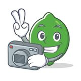 Photographer lime mascot cartoon style. Vector illustration Royalty Free Stock Photography