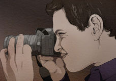Photographer looking at the camera, original drawing. Royalty Free Stock Images