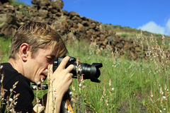 Photographer make  photo on a nature Stock Photos