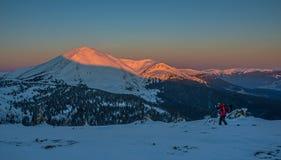 Photographer makes winter landscape photo Royalty Free Stock Image