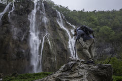 Photographer is making photo of wonderful waterfalls in Plitvice Stock Image