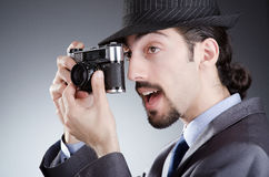 Photographer man with   camera Stock Images