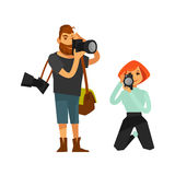 Photographer man and woman journalist or paparazzi with camera vector flat icons. Photographers shooting with photo cameras. Man journalist reporter or woman Royalty Free Stock Image