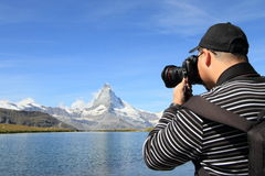 Photographer at Matterhorn Stock Photo