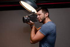 Photographer with a medium format camera Royalty Free Stock Photography