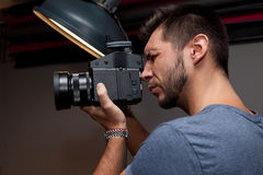 Photographer with a medium format Stock Images