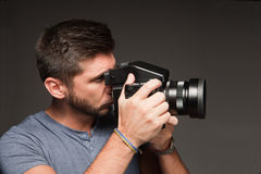 Photographer with a medium format camera Stock Image