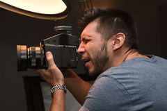 Photographer with a medium format camera Stock Photography